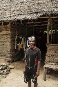 Ranger Khamisi after reef surveys